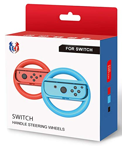 Steering Wheel for Nintendo Switch - Joy Con Wheel for Mario Kart 8 Deluxe Blue and Red