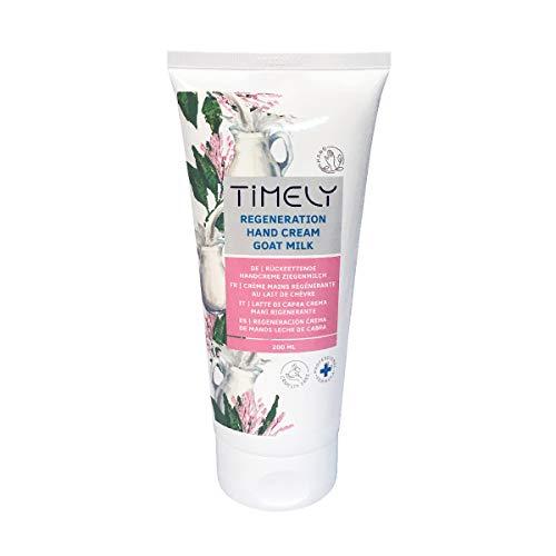 Timely - Crema de manos hidratante y regeneradora con leche de cabra, 200 ml