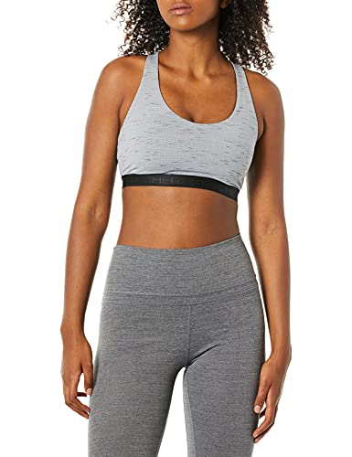 Skechers Women's Solstice Removable Cup Sports Bra, Heathered Black, X-Small