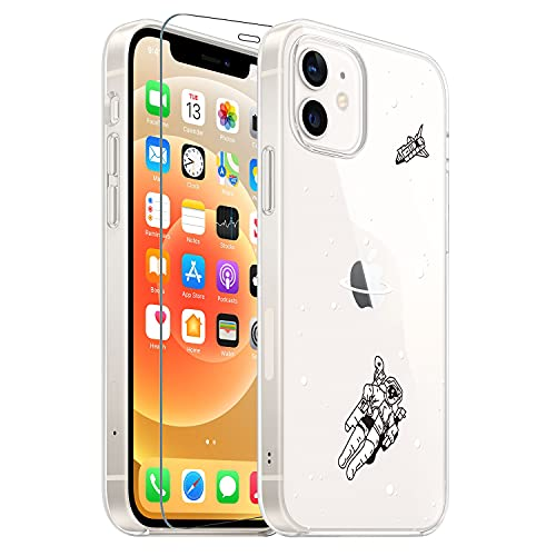 GoldSwift Compatible with iPhone 12/12 Pro 6.1 Inch, Cool Space Astronaut Clear Case with Glass Screen Protector
