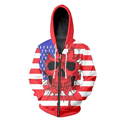 Hombres/Mujeres 3D Impreso Divertido Chaqueta con Estampado crneo Bandera EE.UU. Deporte suter Cremallera Hoodies Flashing Skull Head 4XL