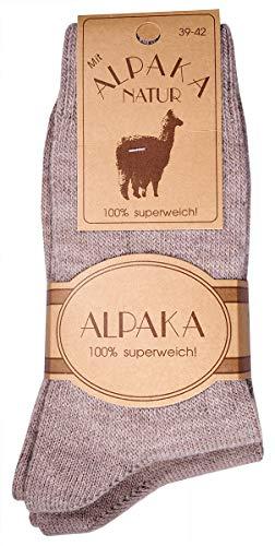 dunaro 2 Paar Woll-Socken mit Alpaka kuschelig warm und weich für Damen Herren (2 Paar / 43-46 Beige)