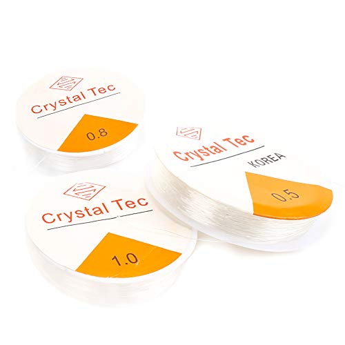 DERAYEE Crystal Elastic String for Bracelets, 3 Size Clear White Stretchy Bead Cord String for Bracelet,Beading, Jewelry Making(0.5mm, 0.8mm, 1mm))