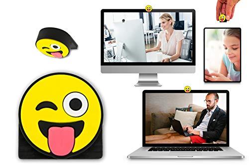 hidemonkeys (1 Stück Webcam Abdeckung, Laptop Kamera Abdeckung, Webcam Cover, Smiley Camera Cover für Laptop, Emoticon Privacy Cover, Notebook und Tablet im 3D Emoji Design Yellow (Smiley)