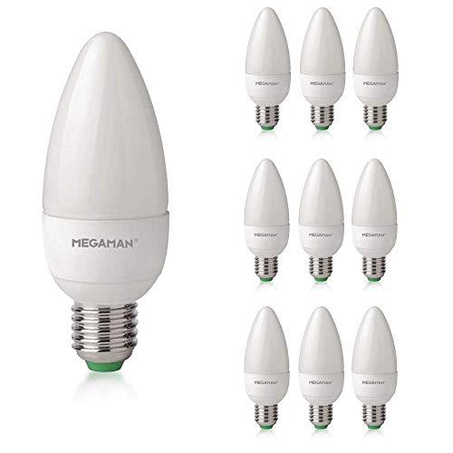 Paquete de 10 bombillas LED Megaman 142560, intensidad regulable, color rico R9, bombilla de vela LED clásica, rosca Edison E27, 4000 K, luz blanca fría, 5,5 W, 470 lm, clasificación A+