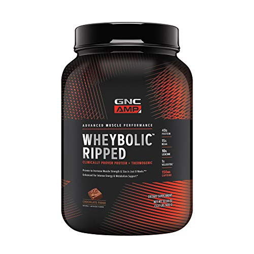 GNC AMP Wheybolic Ripped Whey Protein Powder - Chocolate Fudge, 22 Servings, Contains 40g Protein and 15g BCAA Per Serving