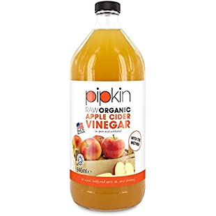 Pipkin 946ml Raw 100% Organic Apple Cider Vinegar With the Mother, Non-GMO Cloudy ACV Pure Cold Pressed, Unrefined, Unfiltered, Unpasteurized, 5% Acidity, Vegan and Vegetarian Friendly, Kosher (Glass Bottle):Greatestmixtapes