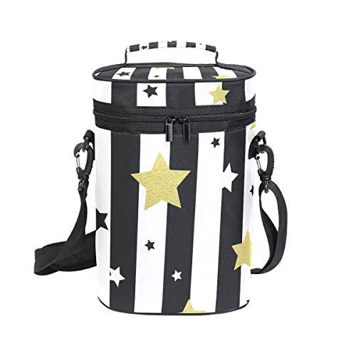 Montoj - Bolsa para 2 botellas de vino, diseño de estrellas en blanco y dorado, sin costuras, portátil, acolchada, versátil, bolsa térmica para vino