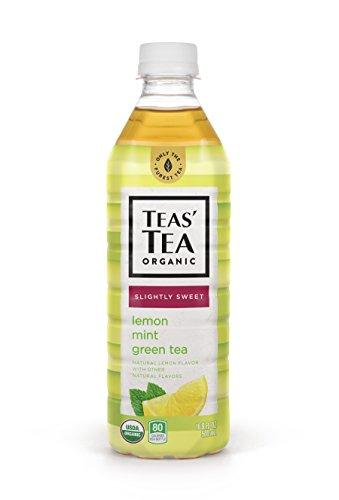 Teas' Tea Organic Lightly Sweet Lemon Mint Green Tea 16.9 Ounce (Pack of 12) Organic Cane Sugar Sweetened No Artificial Sweeteners Antioxidant Rich High in Vitamin C