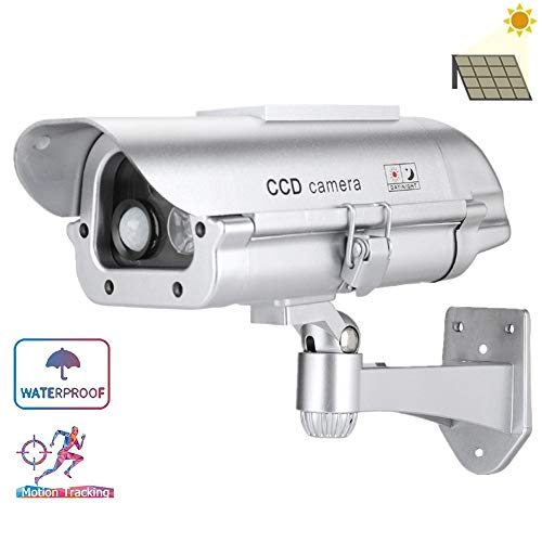 Solar Powered Dummy Camera with Human Sensor and Flash Lights, CCTV Simulated Fake Camera, Battery Not Included
