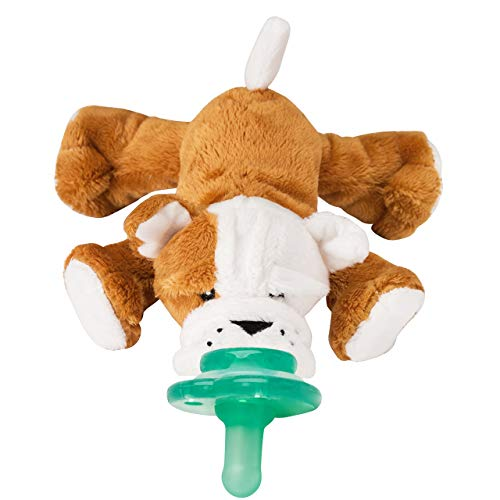 Nookums Paci-Plushies Shakies - Pacifier Holder with Built in Rattle (2 in 1)- Adapts to Name Brand Pacifiers, Suitable for All Ages, Plush Toy Includes Detachable Pacifier (Bull Dog)