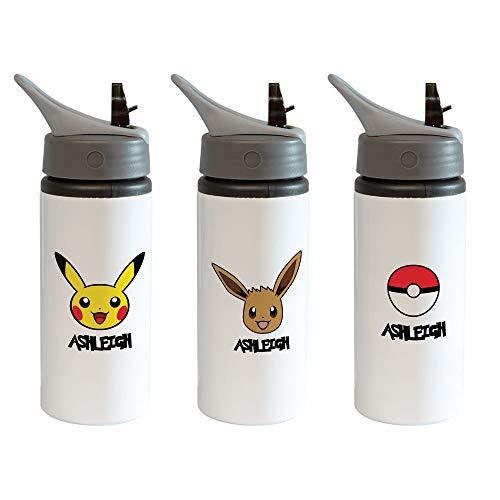 Bantersaurus Borraccia personalizzata Pokemon a prova di perdite in alluminio Evee Pikachu Pokeball con coperchio, cannuccia e manico