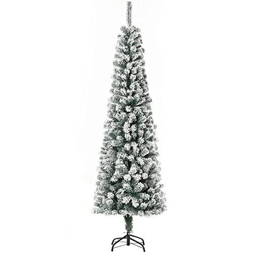 qwqqaq Flocado Pencil-Árbol De Navidad Estrecho,Canchas Bisagras Árbol De Navidad Artificial,Árbol De...