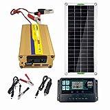 HUSHUI Kit de Sistema de Paneles monocristalinos, Kit de Paneles solares, Equipo de inversor Solar portátil Ligero para Barcos, Coches