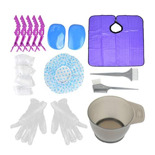 SOLUSTRE 18Pcs Kit de Coloration de Colorant Capillaire Bol de Teinture de Cheveux Brosse Clip de Chapeau de Chapeau Gants Set DIY Salon de Coloration