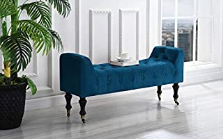 DIVANO ROMA FURNITURE Classic Tufted Microfiber Footrest/Footstool/Ottoman with Casters (Royal Blue)