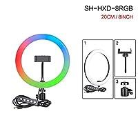 6/10/12inch RGB LEDリングライトSelfieリングランプ15色3 Model Model YouTubeライブメイクアップ写真のためのUSBプラグ (Color : SH HXD 8RGB)