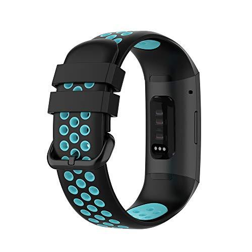 KINOEHOO Correas para relojes Compatible con Fitbit Charge 4/SE Charge 3/SE Pulseras de repuesto.Correas para relojesde siliCompatible cona.(Negro + Teal)
