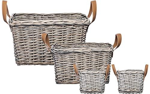 Brandsseller Juego de 4 cestas de almacenamiento trenzadas de mimbre con correas de piel sintética, color gris