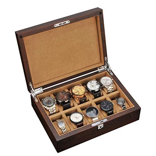 HAILIZI Caja de colección de relojes Caja de reloj - tapa de vidrio 6 ranuras reloj de exhibición de la joyería de almacenamiento caja de pulsera Bandeja escaparate Organizador con la tapa de cristal