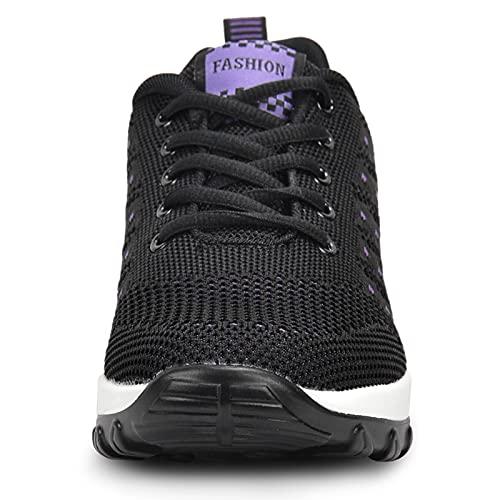 JIANKE Zapatillas Deportivas de Mujer Transpirables y Ligero Zapatos de Malla Cojín de Aire Antideslizantes Shekers Negro, 38 EU