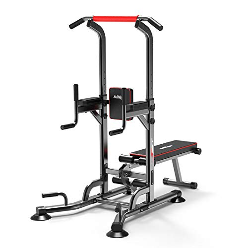 KUANDARMX Power Tower verstellbare Dip-Station Klimmzugstange Push-up-Training Bauchübung Home Gym Tower Bodybuilding Fitness-Trainingsgerät Maschine, Black