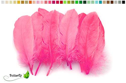 10 Gänsefedern 15-20cm (pink 156) // Echte Federn Bastelfedern Schmuckfedern Dekofedern Vogelfedern Dekofedern