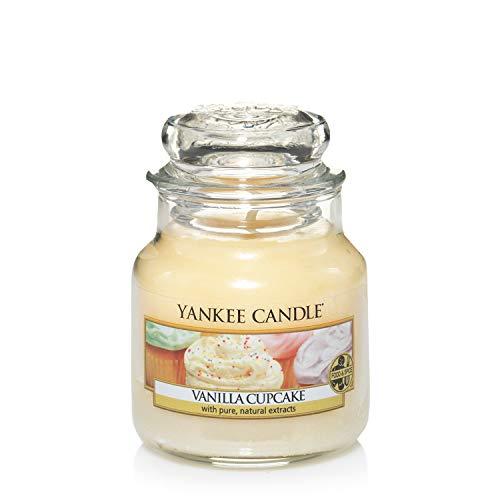 Yankee Candle Vela pequeña aromática en Tarro a Vainilla Cupcake, Cristal, Amarillo, Frasco