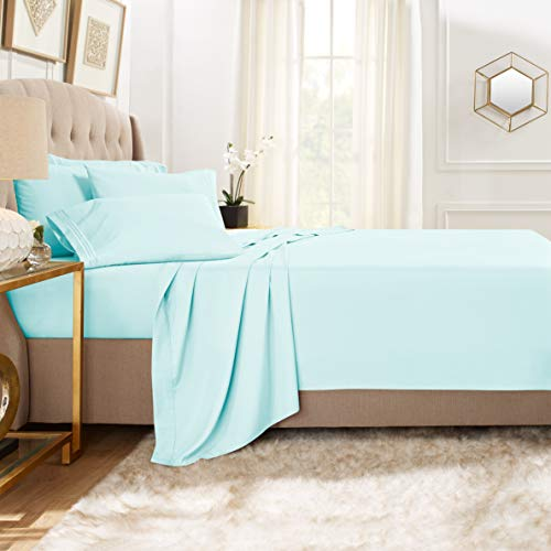 Clara Clark Premier 1800 Collection Bed Sheet Set with Extra Pillowcases Wrinkle, Fade & Stain Resistant, Flex-Top King, Aqua Light Blue