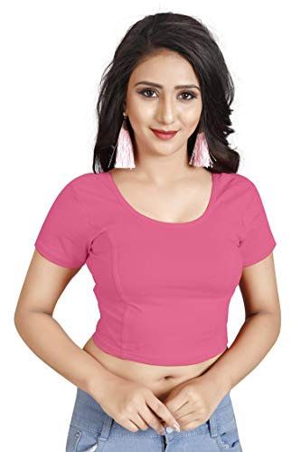 crazy bachat crazy bachat Indian Ethnic Design Stretchable Cotton Lycra Blouse Baby Pink Tops Readymade Saree Blouse Short Sleeve Crop Top