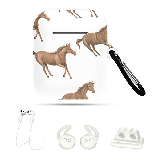 CoverForAirpodsCase Horse Vivildy Running Animal 5 In 1 AirpodProtectiveCase CaseCoversForAirpods For Airpods 1&2 with Keychain/Strap/Ear Hook/Watch Band Holder
