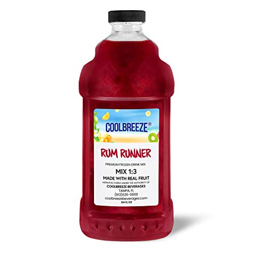 Coolbreeze Beverages Ready to Use Premium Frozen Slush Drink Mix - Rum Runner - One Case (Six 1/2 Gal Bottles)