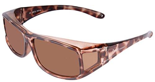 Rapid Eyewear POLARISIERTE SONNENÜBERBRILLE für Damen Brillenträger. Moderne Schildpatt Sonnenbrille. Ideal Radbrille, Autobrille etc. UV400 Schutz. Überzieh Sonnenbrillen