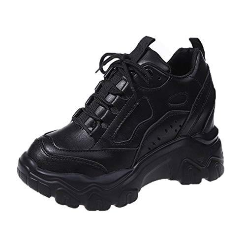 Zapatillas de cuña Ocultas para Mujer Ligeras Informales de Color sólido con Cordones Zapatillas Deportivas con Plataforma Antideslizante Impermeables para Mujer