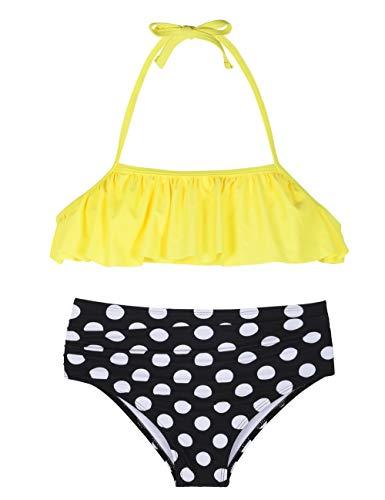 Hilor Girl's Bikini Set Crop Flounce Two Piece Swimsuits Kids Haler Bathing Suits Yellow&Polka Dot 7-8 Years
