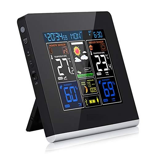 JSX Digitale wekker, draadloos weerstation met indoor outdoor sensor voorspelling weerstation