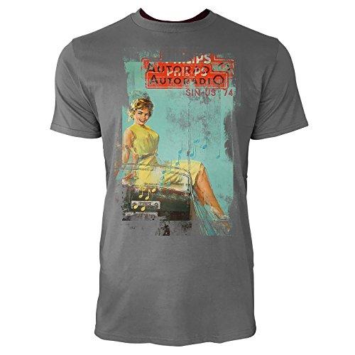 Autoradio Herren T-Shirts graues Cooles Fun Shirt mit tollen Aufdruck