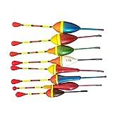 LIOOBO 10pcs Slip Bobbers Fishing Floats and Bobbers Balsa Wooden Fishing Slip Bobbers (0.6g, 0.8g,...