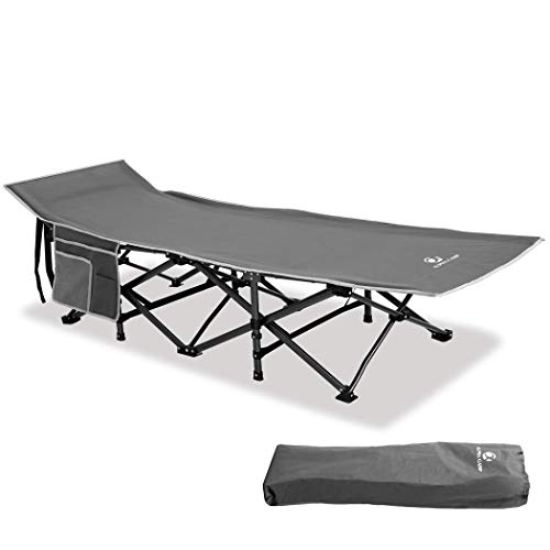 ALPHA CAMP Camping Folding Bed, Heavy Duty Sturdy Camp Beds for Adults, Oversized Sleeping Cot Supports 280kg Folding Steel Frame Portable with Carry Bag