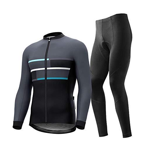 T-JMGP Winddicht Atmungsaktiv Warm Fleece Jacke,Paar Fahrradbekleidung, Mountainbike Winter Fleece Herren Fahrradbekleidung, Langärmelige Eng Anliegende Rennradbekleidung-Schwarz 3_L.