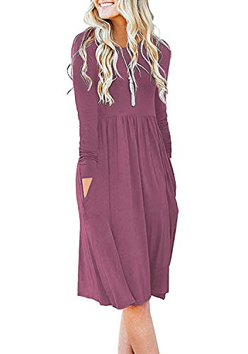 DB MOON Women Casual Long Sleeve Dresses Empire Waist Loose Dress with Pockets (Mauve, 3XL) (Apparel)