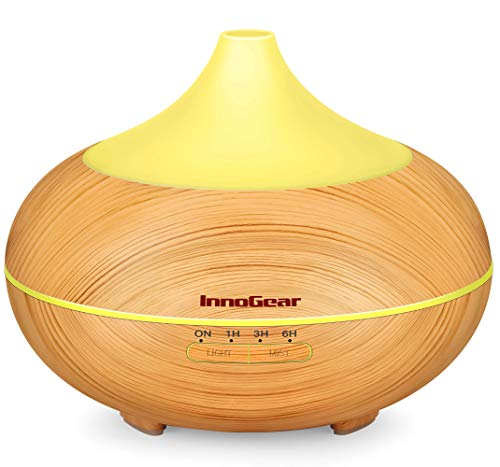 InnoGear 500ml Aromatherapy Essential Oil Diffuser Wood Grain Aroma Diffusers Cool Mist Humidmifier with Timer Adjustable Mist Night Light Waterless Auto Shut-Off