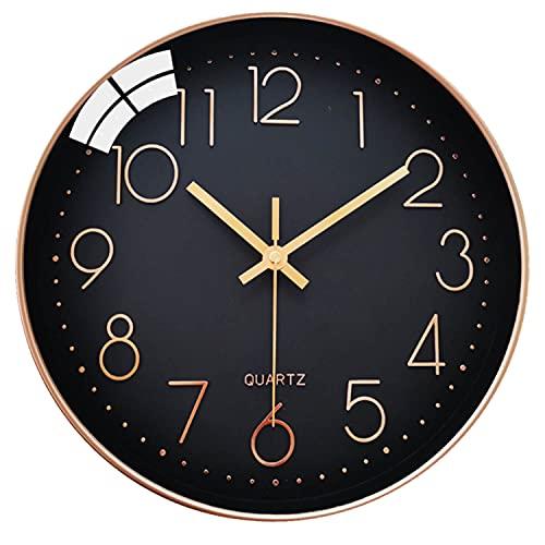 LiRiQi Reloj de Pared Moderno, 30 cm Grandes Decorativos Silencioso Interior Reloj de Cuarzo de Cuarzo Redondo No-Ticking para Sala de Estar, para Cocina Dormitorio Escuela Oficina (Negro)