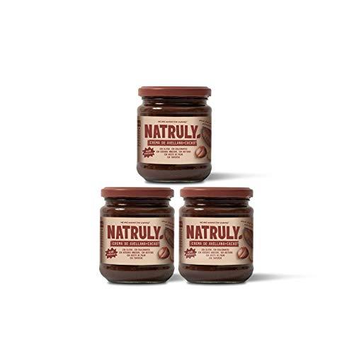 NATRULY Crema de Avellanas y Cacao Sin Azúcar y Sin Edulcorantes, Endulzada con Fibra de Achicoria, Sabor Chocolate con Leche (Pack 3*300g)