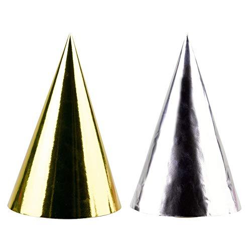 amscan 4 Partyhütchen * Happy New Year * in Gold und Silber // Silvester Verkleidung Hüte Hütchen Party