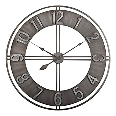 "Studio Designs Home 30"" Industrial LOFT Decor Wall Clock, Brushed Metal"