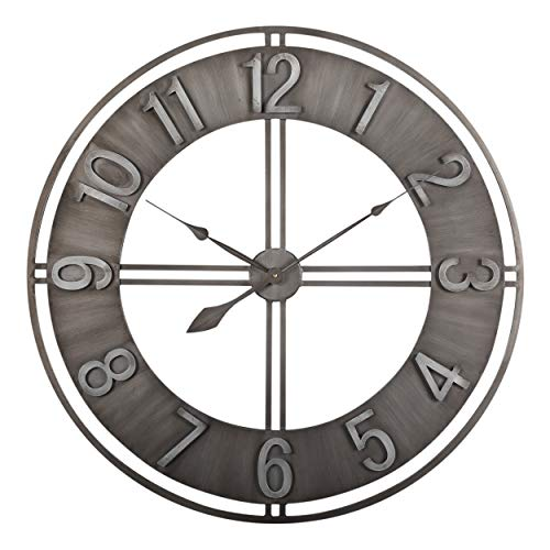 Studio Designs Home 30' Industrial LOFT Decor Wall Clock, Brushed Metal