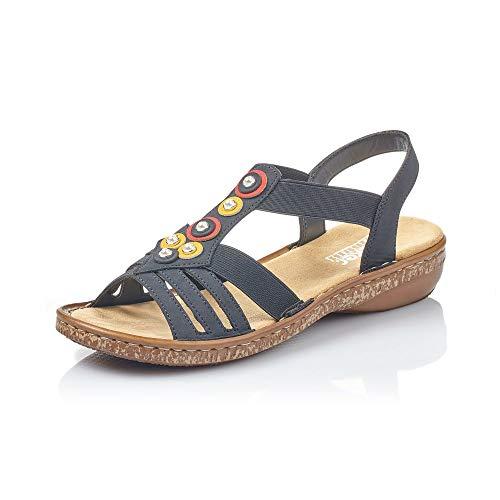 Rieker Mujer Sandalias de Vestir 628L1, señora Sandalia con Tiras,Sandalias con Correa,Zapatos de Verano,cómodo,Confort,Plana,Pazifik,38 EU / 5 UK