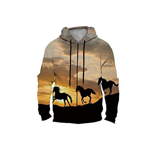 Silhouette of Three Wild Horses Galloping b Sunset Horse,Ladies Full Zip up Fleece Hoodies with