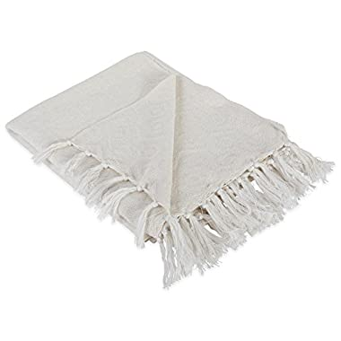 DII Modern Cotton Geometric Blanket Throw with Fringe For Chair, Couch, Picnic, Camping, Beach, & Everyday Use , 50 x 60  - Hexagon White